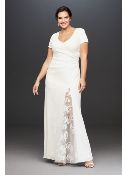 Crepe Sheath Plus Size Gown with Embroidered Slit - Satin floral-embroidered illusion fabric covers the open back
